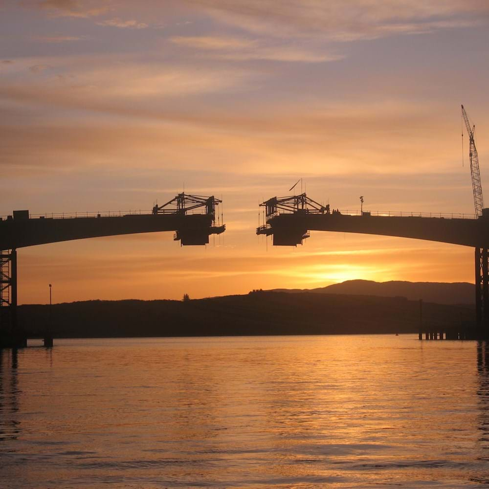 Sunset view of Mulroy Bay Bridge during construction