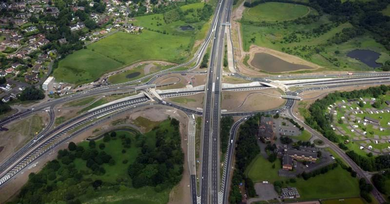 Raith Interchange, part of the M8 motorway network, Scotland.