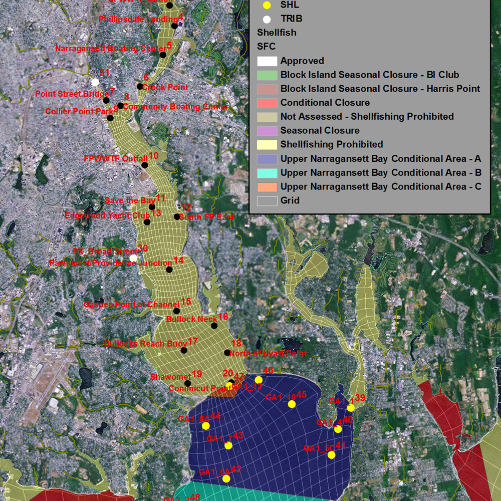 Evaluation of Water Quality Benefits from CSO Alternatives for Narraganset Bay GridandObservationLocations_OverlaidonShellfishAreas.png